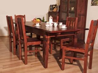 """Essgruppe 180/220 """"Capri"""" braun ausziehbar - Esstisch + 6 Holzstühle - massives Pinienholz:   von Moebelkultura.DE"""