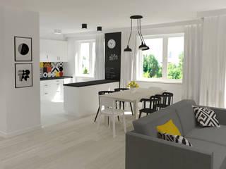 Salon z aneksem kuchennym: styl , w kategorii Jadalnia zaprojektowany przez EMMSTUDIO Magdalena Muszytowska