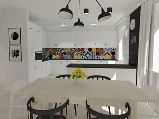Salon z aneksem kuchennym: styl , w kategorii Kuchnia zaprojektowany przez EMMSTUDIO Magdalena Muszytowska