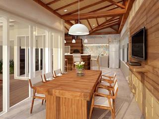 Espaço Gourmet Barão Geraldo Varandas, alpendres e terraços rústicos por Alessandra Duque Arquitetura & Interiores Rústico