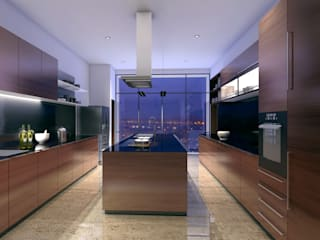 HYDE PARK TOWER, BIBBEWADI, PUNE Modern kitchen by Chaney Architects Modern