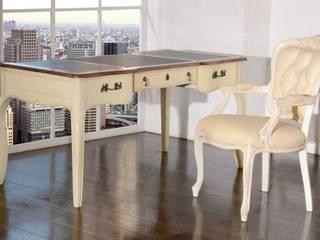 Schreibtisch inkl Holzstuhl Vintage weiss Birke massiv Holz Moebel Büro tisch:   von Moebelkultura.DE