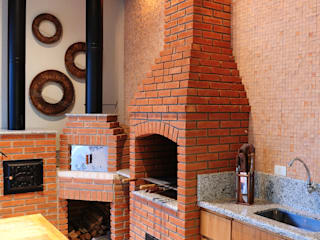 studio VIVADESIGN POR FLAVIA PORTELA ARQUITETURA + INTERIORES Balcone, Veranda & Terrazza in stile rustico Marrone