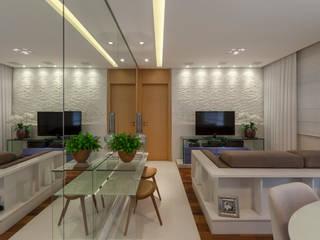 studio VIVADESIGN POR FLAVIA PORTELA ARQUITETURA + INTERIORES Soggiorno moderno Bianco