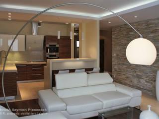 Salas de estilo moderno de architekt SZYMON PLESZCZAK - ARCHI PL PRACOWNIA ARCHITEKTURY I WNĘTRZ Moderno