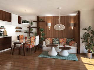 Country style Interior for an appartment kitchen and living room Salones rurales de Inspiria Interiors Rural