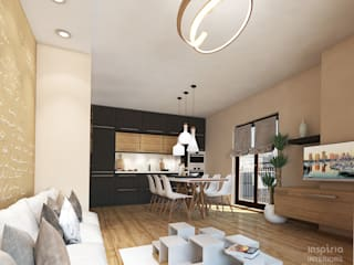 Contemporary Interior for an apartment, Sofia Scandinavian style kitchen by Inspiria Interiors Scandinavian