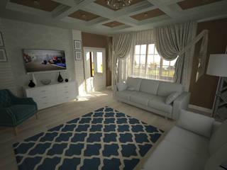 Гостиная в частном доме Гостиные в эклектичном стиле от Проектный центр 'Метрика' Эклектичный