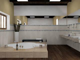 Proyecto para vivienda con tipología en L. Baños modernos de Estudio Marcos Fernandez Moderno
