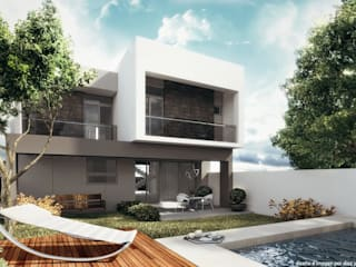 Fachada posterior Albercas minimalistas de Diez y Nueve Grados Arquitectos Minimalista