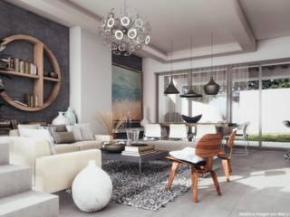 Sala Diez y Nueve Grados Arquitectos Livings de estilo minimalista