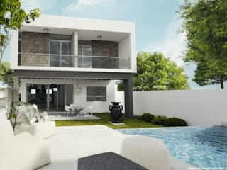 Diez y Nueve Grados Arquitectos Piscina minimalista Bianco