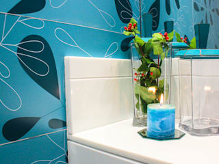 Lavabo Turquesa: Banheiros  por Sophie Design de Interiores