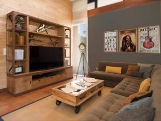 Sala acogedora: Salas de estilo rústico por DLPS Arquitectos