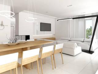 biel, czerń i drewno w nowoczesnej odsłonie: styl , w kategorii  zaprojektowany przez Pszczołowscy projektowanie wnętrz