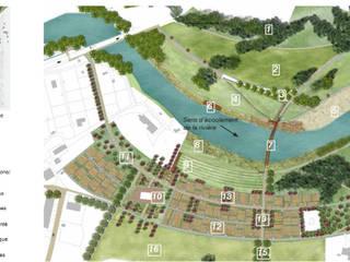 Plan masse des aménagements (périmètre d'intervention):  de style  par Atelier Aralia