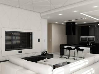 nowoczesny apartament blisko morza: styl , w kategorii Salon zaprojektowany przez Pszczołowscy projektowanie wnętrz
