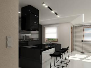 nowoczesny apartament blisko morza: styl , w kategorii Kuchnia zaprojektowany przez Pszczołowscy projektowanie wnętrz