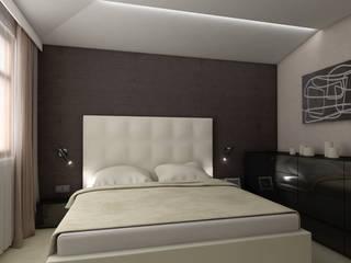 nowoczesny apartament blisko morza: styl , w kategorii Sypialnia zaprojektowany przez Pszczołowscy projektowanie wnętrz