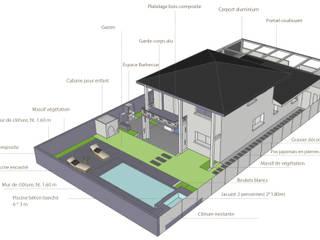 Vue générale de l'organisation des espaces:  de style  par Atelier Aralia