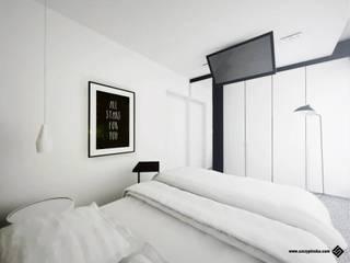 PROJEKT SYPIALNI - Ruda Śląska Minimalistyczna sypialnia od Hanna Szczypińska - Architektura Wnętrz Minimalistyczny