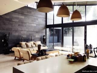 Cocina y sala Cocinas eclécticas de Diez y Nueve Grados Arquitectos Ecléctico