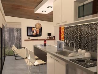 "Cabaña ""V"" Livings modernos: Ideas, imágenes y decoración de Comma - Oficina de arquitectura Moderno"