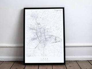 dekoracyjna mapa Łodzi: styl , w kategorii  zaprojektowany przez Maptu.pl