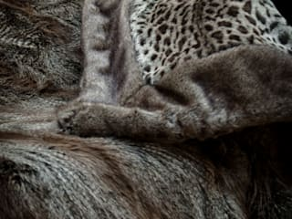 Faux fur throw and cushions - Savane de Mayfair collection: modern  by Mille Boutique Ltd, Modern