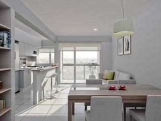 Departamento 1 dormitorio: Casas de estilo moderno por Akros S.R.L.