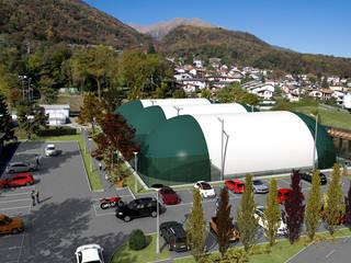 INSERIMENTO AMBIENTALE– LUGANO - Svizzera Spazi commerciali moderni di KRISZTINA HAROSI - ARCHITECTURAL RENDERING Moderno