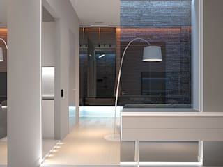 Eco-minimal Dmitriy Khanin Коридор, прихожая и лестница в стиле минимализм Стекло Белый
