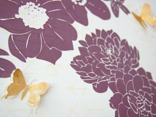 Geo Fleur Bedroom Wallpaper, private commission 2013 Classic style walls & floors by Laura Felicity Design Classic