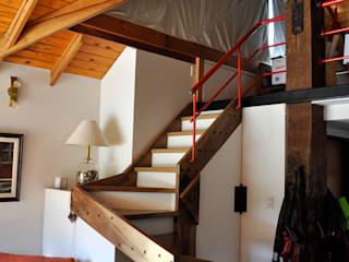 Rustic style corridor, hallway & stairs by AM Estudios Rustic