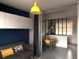Vue 3D du salon/chambre sur le séjour/cuisine:  de style  par Andara