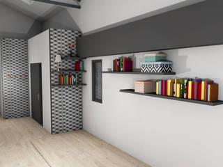 Agencement & Décoration d'un séjour Laura Djabourian Architecture d'intérieur Couloir, entrée, escaliers modernes Bois Gris