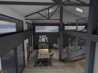 Agencement & Décoration d'un séjour Laura Djabourian Architecture d'intérieur Salle à manger moderne Fer / Acier Gris