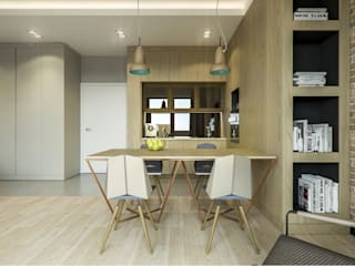 Warszawa Wola - mieszkanie 46 m kw. Nowoczesna jadalnia od Casa Marvell Nowoczesny