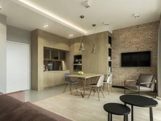 Warszawa Wola - mieszkanie 46 m kw. Nowoczesny salon od Casa Marvell Nowoczesny