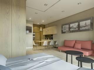 Warszawa Wola - mieszkanie 33 m kw. Nowoczesny salon od Casa Marvell Nowoczesny