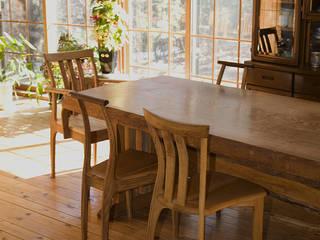 ダイニングテーブル: 木工房ばおばぶが手掛けたカントリーです。,カントリー