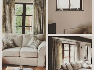 Curtains and roman blinds to match new furniture Modern living room by Grey Soft Furnishings Modern