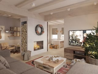 Scandinavian style living room by Бражинская Scandinavian