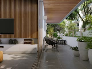 EDIFÍCIO CARAVELLE | Varanda: Terraços  por Tato Bittencourt Arquitetos Associados