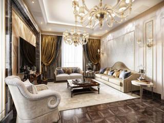 Квартира в классическом стиле в Москве: Гостиная в . Автор – ELLE DESIGN STUDIO