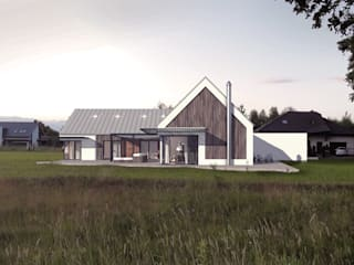 Dom energooszczędny przy ścianie lasu. Projekt domu + wnętrza Nowoczesne domy od GRYMIN - TYBULCZUK ARCHITEKCI Nowoczesny