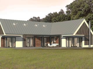 Dom energooszczędny przy ścianie lasu. Projekt domu + wnętrza: styl , w kategorii Domy zaprojektowany przez GRYMIN - TYBULCZUK ARCHITEKCI