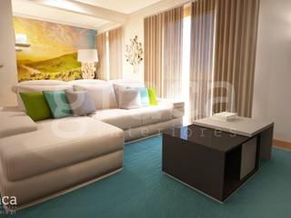 Projecto de Decoração com Mobiliário Escuro: Salas de estar  por Andreia Louraço - Designer de Interiores (Contacto: atelier.andreialouraco@gmail.com)