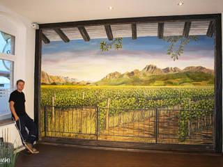 Illusionsmalerei I Wandmalerei im Restaurant WeinBasis in Hannover Moderne Gastronomie von fialkowske design Modern
