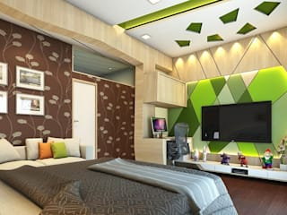 T.V. unit wall with Study table.:  Bedroom by Ellipse design studio